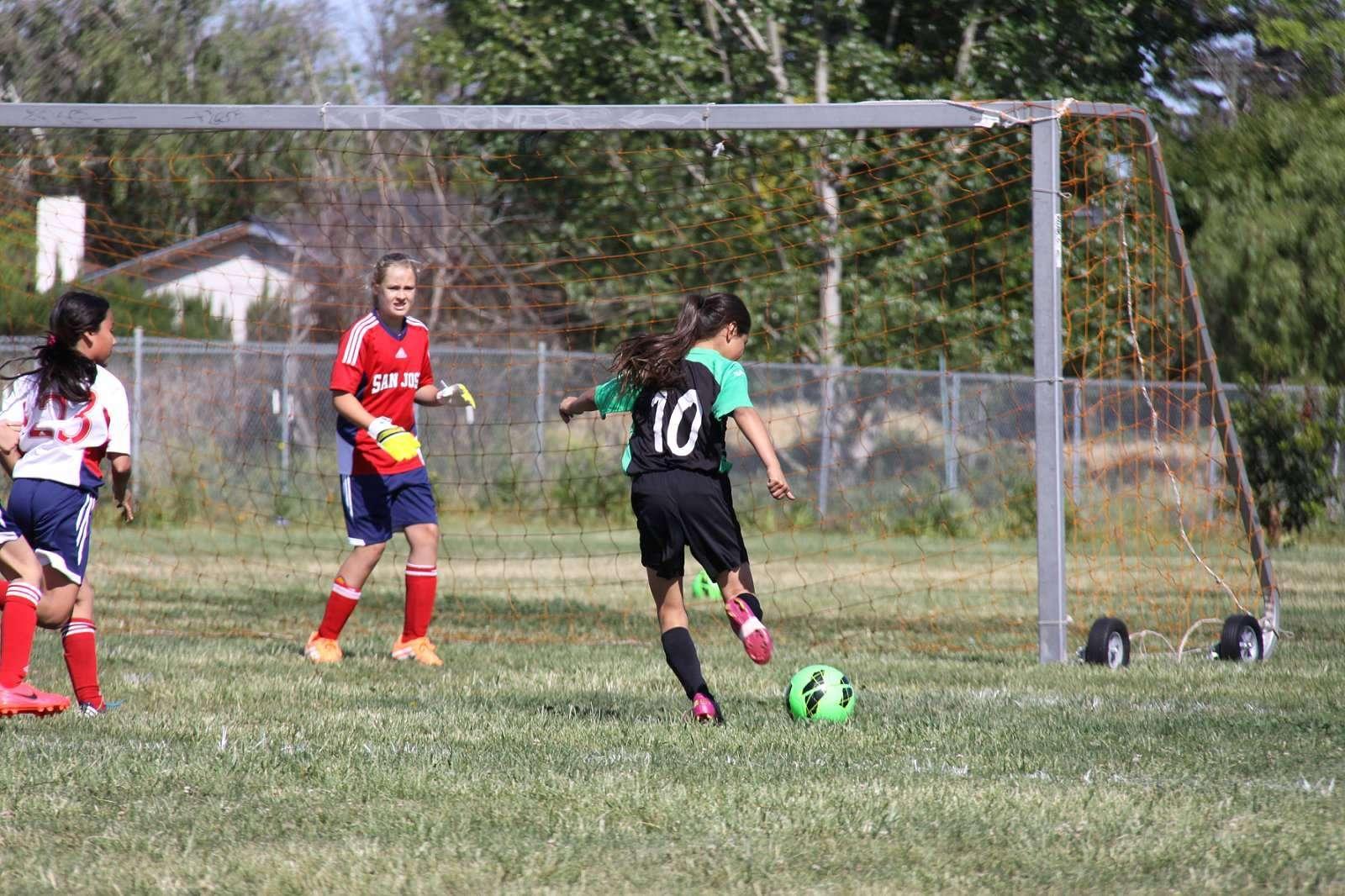 girls soccer action